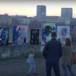 Modern paintings standing in Vilnius street