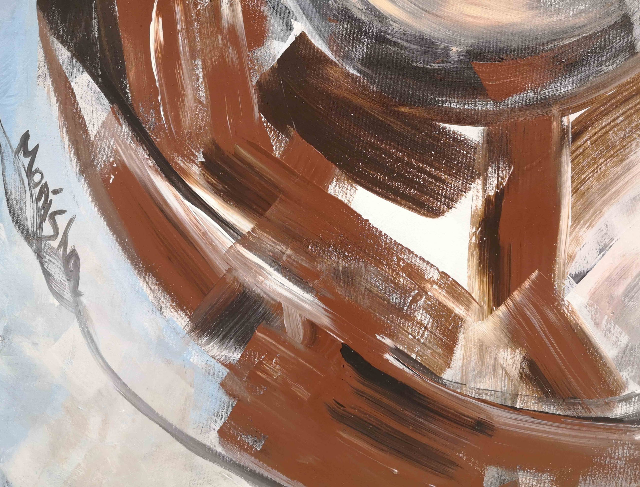 Brown and blue colors on abstract modern painting