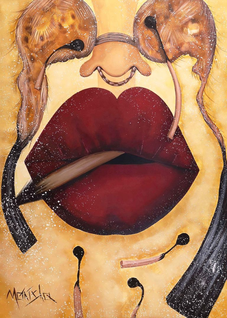 Big red lips and matches on moder painting