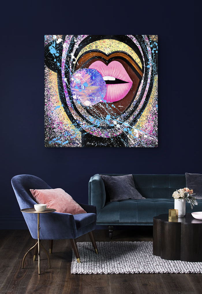 Modern art painting pink lips with bubble gum