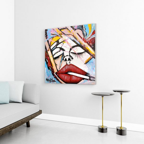A Moment With Myself - Red Lips Painting by Monisha 2020 2