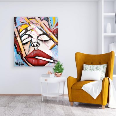 A Moment With Myself - Red Lips Painting by Monisha 2020