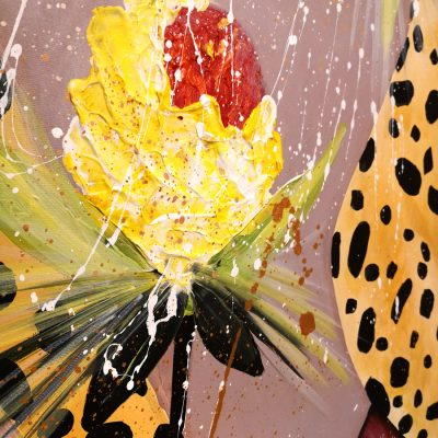 Modern painting fragment color splashes african flower