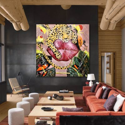 Modern painting in cozy living room