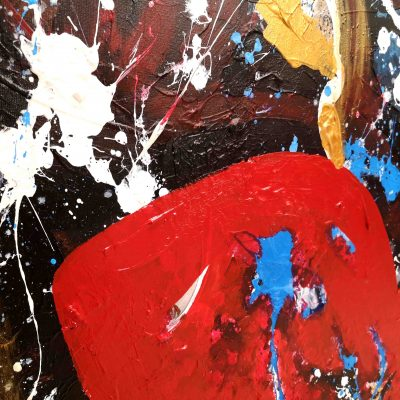 Big red lips on canvas modern art painting