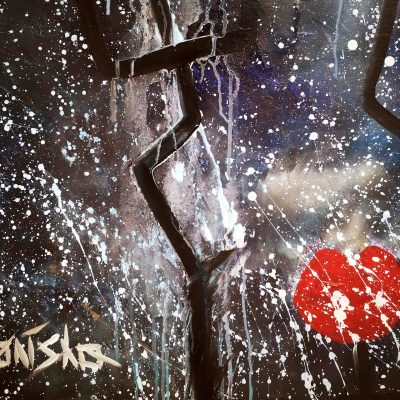 Red lips in milky way of universe modern art painting